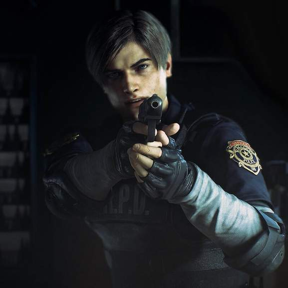 leon re2 with gun