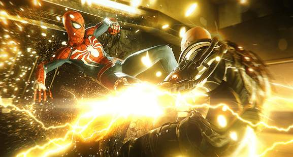 spider-man is fighting electro