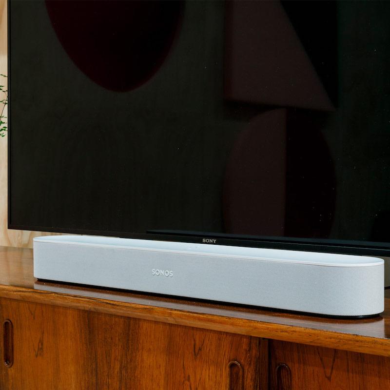 White Sonos Beam under Sony TV