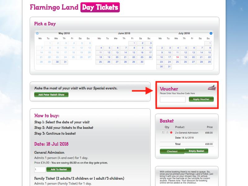 Flamingo Land how to redeem voucher code
