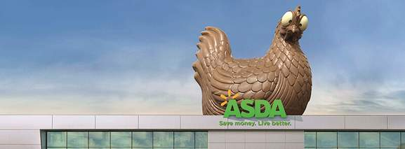 giant chocolate chicken on an asda supermarket roof