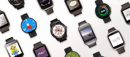 android smart watches in white background