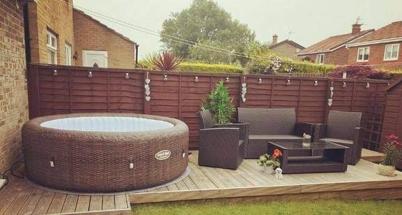 garden setup with a lay-z spa hot tub
