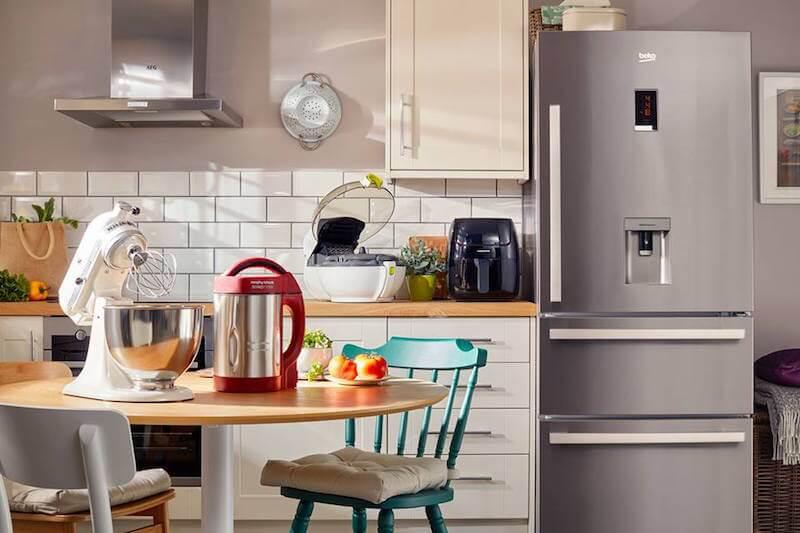 modern styled kitchen with kitchen appliances