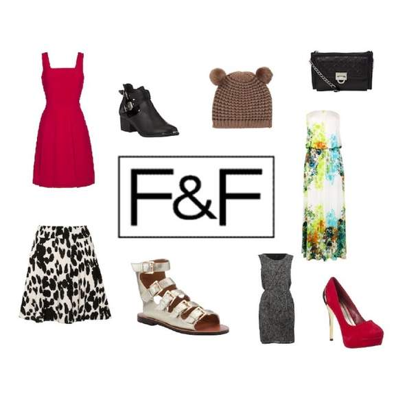 F&F fashion logo next to clothing items