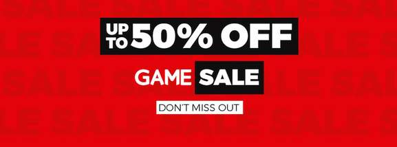 game sale banner up to 50& off