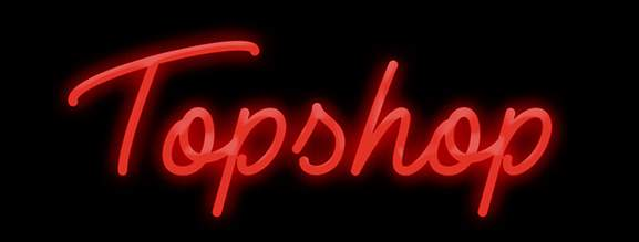 topshop banner writen in red letters