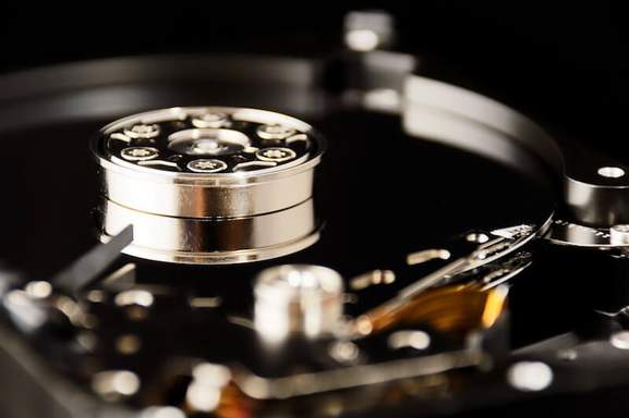 close-up of golden hdd