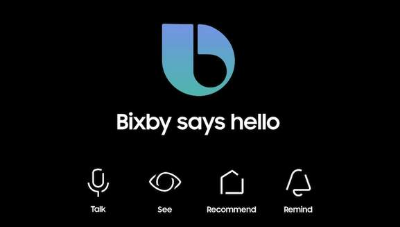 banner with the writing bixby says hello and the naming of the features bixby is capable of: talk, see, recommnd, remind