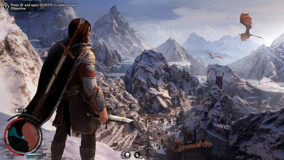 talion is standing on a lookout point