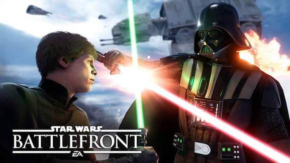 star wars battlefront luke skywalker fighting against darth vader with lightsaber