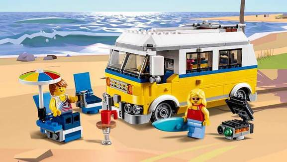 a surfers camper van made out of lego