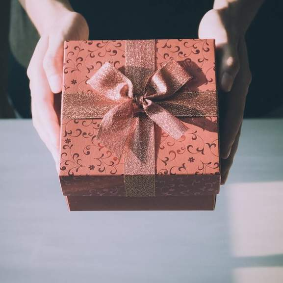 Person with present in hands