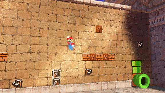 super mario in 2d mode is jumping off a brick