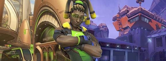 overwatch character lucio with crossed arms in front of a colourful urban environment