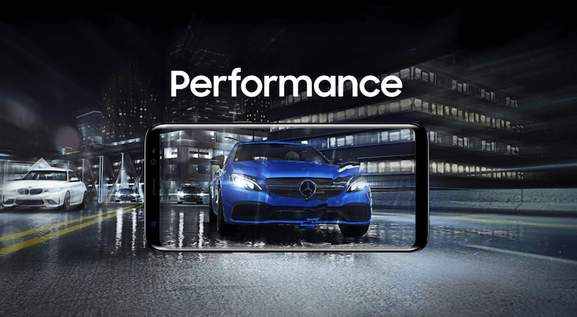 banner showing a samsung galaxy s8+ and a merceds along with the lettering performance