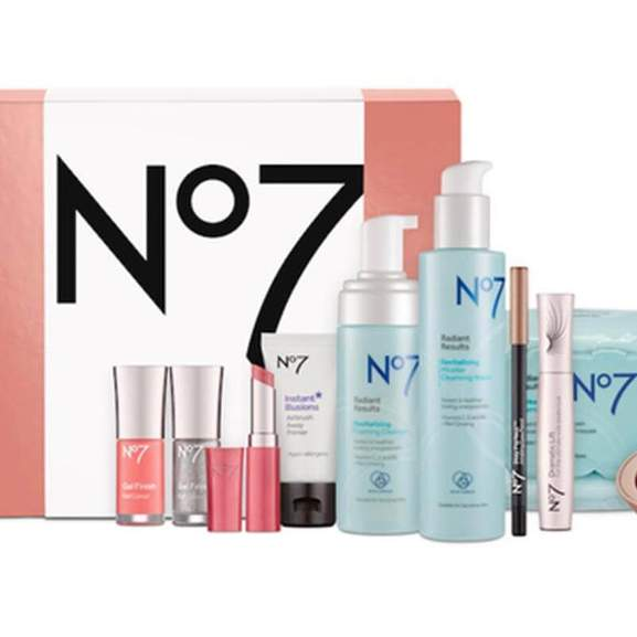 No7 products in light blue bottles by No7 pink gift box