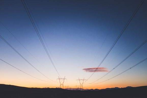 cable route in a sunset