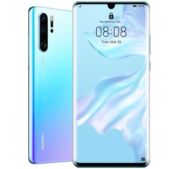 Huawei P30 Pro in blue front and back view