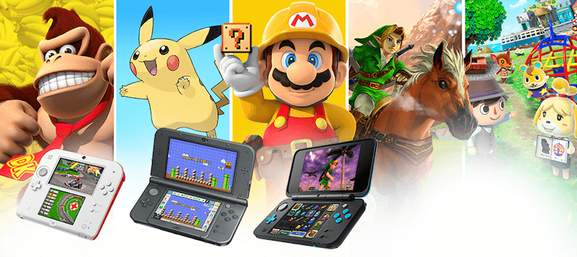 3ds family with donkey kong pikachu mario zelda and animal crossing characters in the background