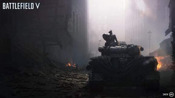 Battlefield 5 tank in dark town
