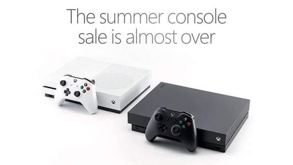 banner showing the xbox one x in white and black with the saying the summer sale is almost over
