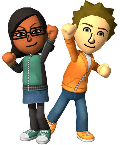 one male and female nintendo mii holck up one of their arms
