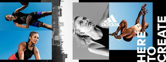 here to create banner showing women wearing adidas apparel