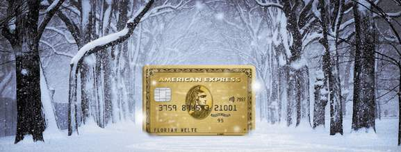 american express gold card in a winter setting