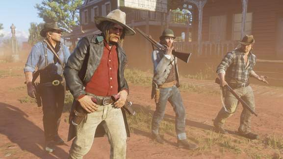 Red Dead 2 Outlaws in Western Town