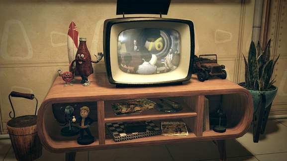Fallout 76 on retro style TV
