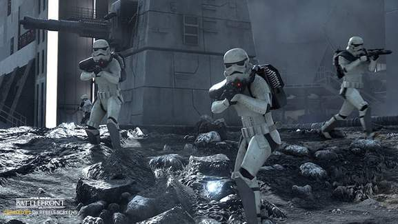 three stormtroopers holding blaster guns
