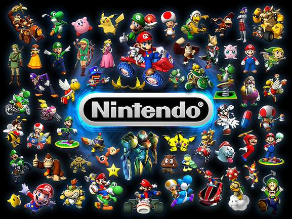 nintendo sign and games characters