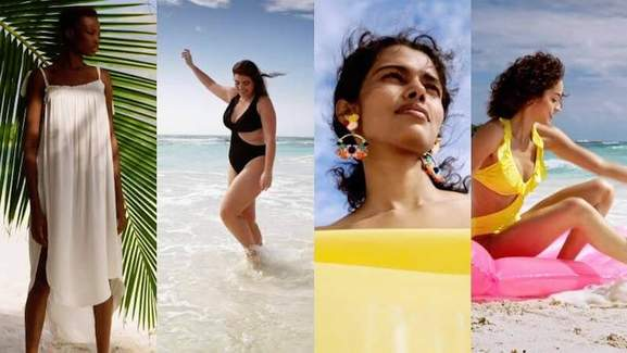 4 women in h&m swimming clothes