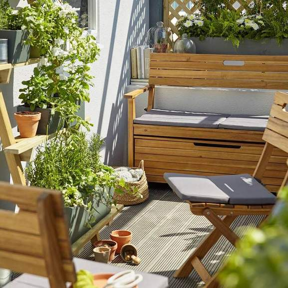 small space garden with b&q furniture