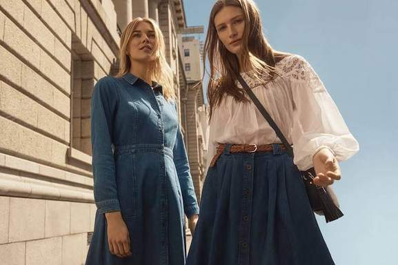 two women featuring monsoon denim clothes