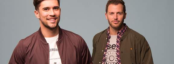 two guys wearning mandm direct fashion sports streetwear