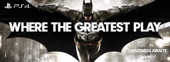 ps4 banner with batman in the background saying where the greatest play