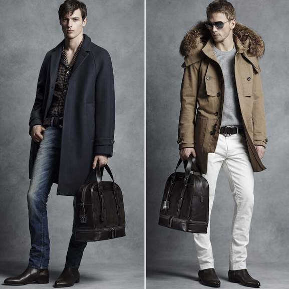 Michael Kors Men's Clothing on two men wearing Michael Kors sunglasses, MK Coat and Michael Kors Backpack