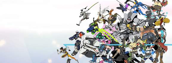 banner showing a bunch of playable characters in overwatch