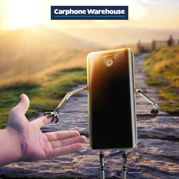 carphone warehouse banner smartphone and human holding each others hand