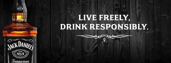 banner saying to live freely but drink jack daniel's responsibly