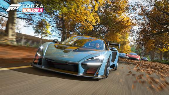 Forza Horizon 4 Mclaren Senna racing on autumn road