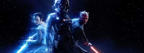 battlefront banner showing a trooper, darth maul and rey