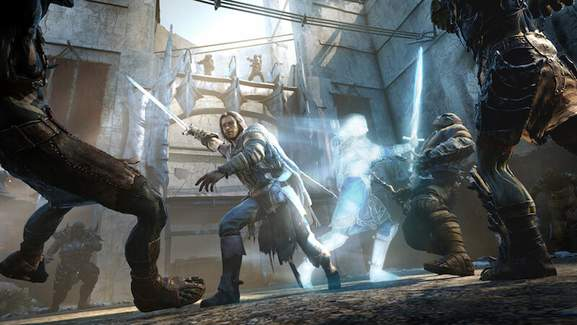 talion fights several orcs