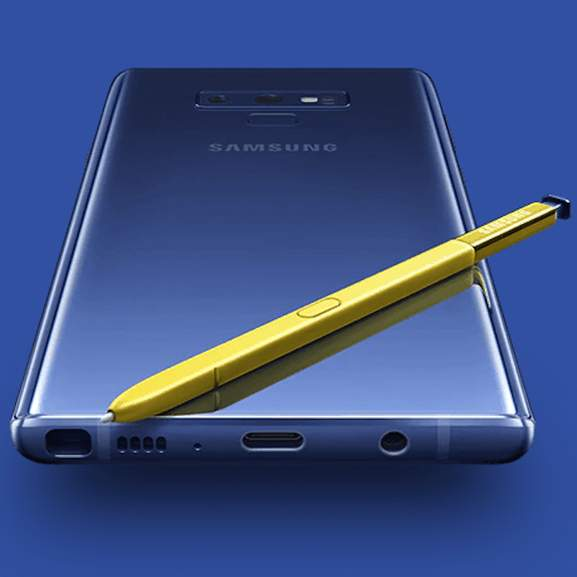 Back of Blue Galaxy Note 9 with yellow S Pen