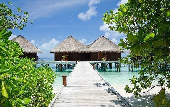 hotel resort directly at the beach on the maldive islands