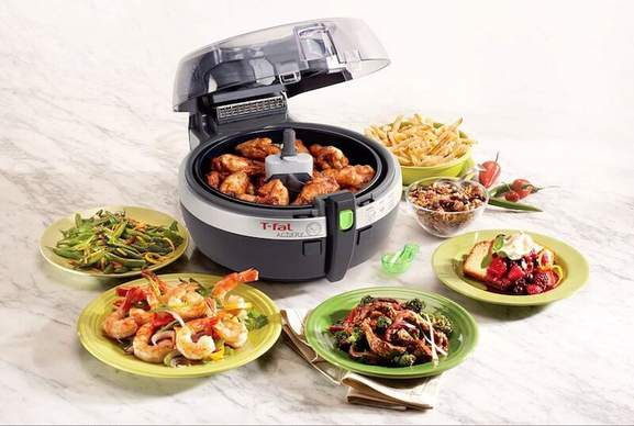 tefal actifry with lots of different dishes