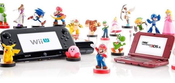 banner with different amiibo figures and the wii u + new nintendo 3ds xl presented