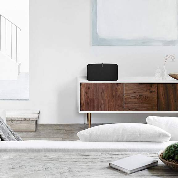 Sonos Play:5 on living room side cabinet